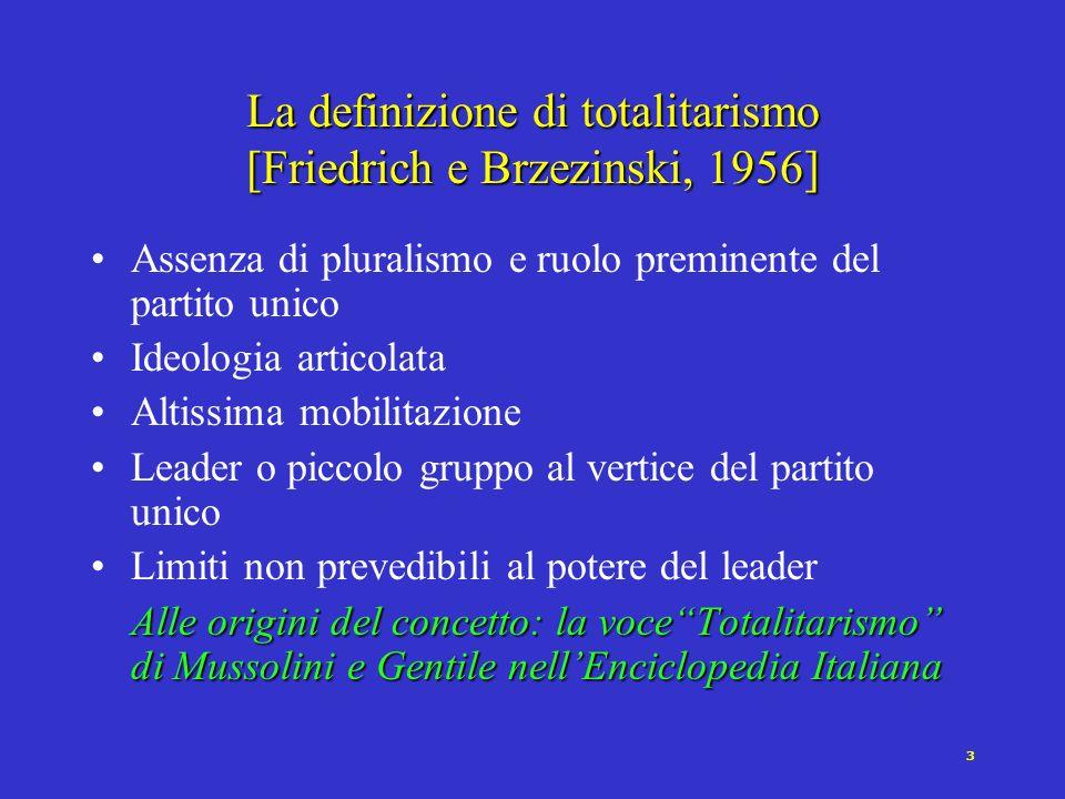 La definizione di totalitarismo [Friedrich e Brzezinski, 1956]
